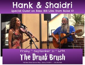 Hank & Shaidri, with Bill Liles on Upright Bass @ The Drunk Brush Wine Bar
