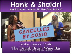 CANCELLED: Hank & Shaidri, with Bill Liles, bass @ The Drunk Brush Wine Bar